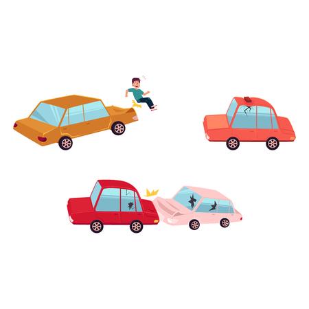 Accident de voiture de dessin animé plat vecteur, ensemble d'accident piéton. Deux véhicules sont entrés en collision, les deux ont des bosses, des lunettes cassées, des égratignures, le toit de l'auto rouge bosselé par la brique. Illustration isolée sur un fond blanc. Banque d'images - 85238755