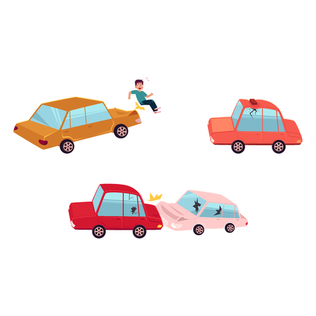 vector flat cartoon car crash, pedestrian accident set. Two vehicle collided both have dents, broken glasses, scratches, roof of red auto dented by brick. Isolated illustration on a white background. Illustration