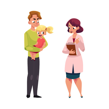 Father holding girl, kid in hands and woman doctor, pediatrician filling in medical card, cartoon vector illustration isolated on white background. Doctor, pediatrician and father with child, kid