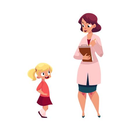 Vrouwenarts, pediater en meisje, medisch examen, gezondheidscontroleconcept, beeldverhaal vectordieillustratie op witte achtergrond wordt geïsoleerd. Vrouw arts, kinderarts en meisje, medisch examen Stock Illustratie