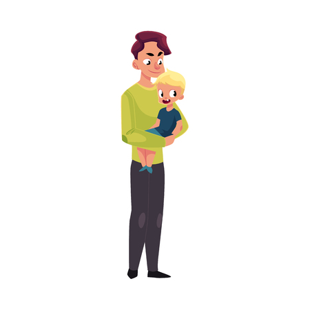 Young handsome father, dad holding little son, kid, child in arms, cartoon vector illustration isolated on white background. Cartoon style portrait of young father holding his little kid, son in arms Illustration