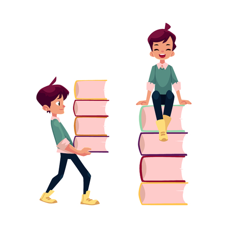 vector cartoon teenage man, schoolboy set. Boy laughing, sitting at big pile of school books, another one carries textbooks . Flat isolated illustration on a white background. Back to school concept