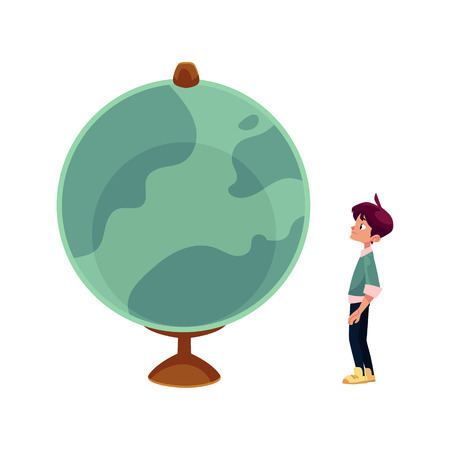 flat earth: vector cartoon teenage man, curious schoolboy looking at big globe studying geography. Isolated flat illustration on a white background. Back to school concept