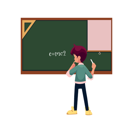vector cartoon school boy stands near big chalk blackboard with physical energy formula. Flat isolated illustration on a white background. Back to school concept Illustration