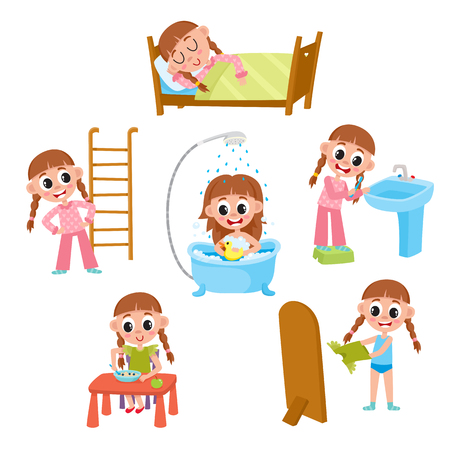 Daily morning routine, little girl sleeping, washing, eating, dressing, doing exercises, brushing teeth, cartoon vector illustration isolated on white background. Daily morning routines of little girl