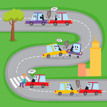 Various types of road accidents with funny car characters on city street, cartoon vector illustration. Collision, pedestrian knockdown, road accident with funny car characters shown on the same road Illustration