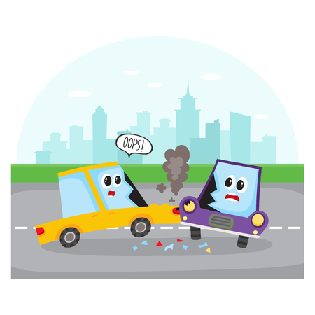 Road accident, side collision on city street with car characters, cartoon vector illustration. Two cartoon car characters with human faces have road accident, collision on city street Illustration
