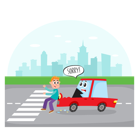 Het verkeersongeval, autokarakter met menselijk gezicht raakt een voetganger op stadsstraat, beeldverhaal vectorillustratie. Het karakter van de beeldverhaalauto met menselijk gezicht raakt een voetgangersoversteekplaatsstadsstraat