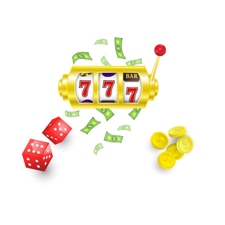 vector flat cartoon lucky triple seven Jackpot, golden slot mashine with dollar rain around, casino chips and dice cubes set. Isolated illustration on a white background. Sign of profit easy money Иллюстрация