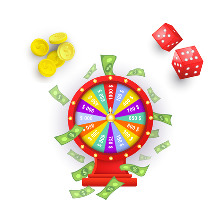 vector flat cartoon lucky wheel of fortune with dollar rain around, gambling dice cubes, casino chips set . Isolated illustration on a white background. Sign of profit, easy money. 向量圖像