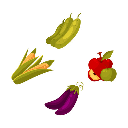 Set of cartoon farm products, fruit and vegetables - apple, zucchini, corn, eggplant, vector illustration isolated on white background. Cartoon style whole raw corn, eggplant, zucchini, apple Ilustracja