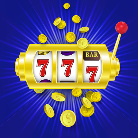 vector flat cartoon lucky triple seven Jackpot, golden slot mashine with dollar rain around. Illustration on a blue background. Sign of profit easy money. Casino, gambling games design poster