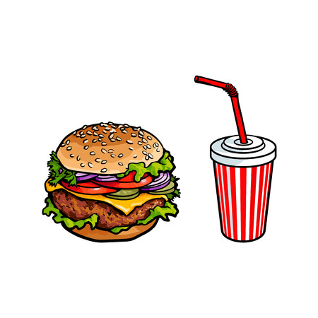 Vector burger, soft cold drink disposable cup with straw and lid. Sketch hand drawn isolated illustration on a white background. Tasty fresh fastfood chickenburger, cheesburger with vegetables. Çizim