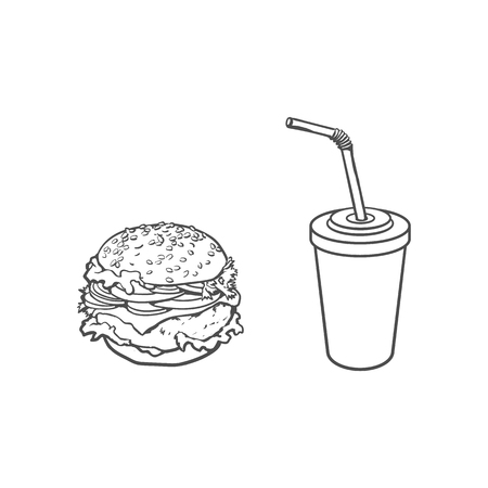 Vector burger, soft cold drink disposable cup with straw and lid. Sketch hand drawn isolated illustration on a white background. Tasty fresh fastfood chickenburger, cheesburger with vegetables. Illustration