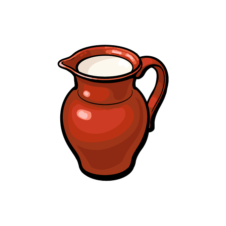 Brown clay pot, stoneware jug full of fresh cow, goat, sheep milk, sketch style vector illustration on white background. Realistic hand drawing of clay pot, stoneware jug with cow, sheep, goat milk Stock fotó - 85238787