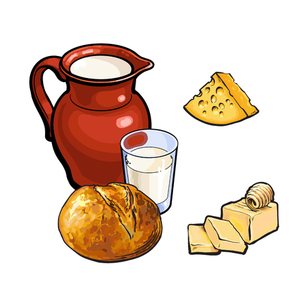 vector sketch cartoon glass of milk and ceramic pitcher jug, crock and loaf of round white bread, cheese and butter. Isolated illustration on a white background. Healthy food dairy products concept