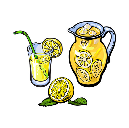 vector sketch cartoon lemonade jug, pitcher, glass of lemon juice with straw and sliced lemon with leaves set. Isolated illustration on a white background. Fresh juicy cirtus, full of vitamins Vettoriali