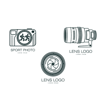 Vector photo caméra icône . flat illustration isolé sur un fond blanc. logo design set pour la photographie studio Banque d'images - 85238804