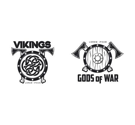 vector vikingen goden van oorlog pictogrammalplaatje ontwerp set eenvoudige platte geïsoleerde illustratie op een witte achtergrond. Assen en schild met patroonbeeld