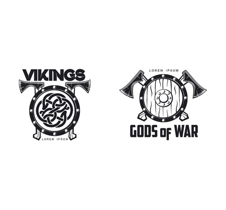 vector vikings gods of war icon template design set simple flat isolated illustration on a white background. Axes and shield with pattern image