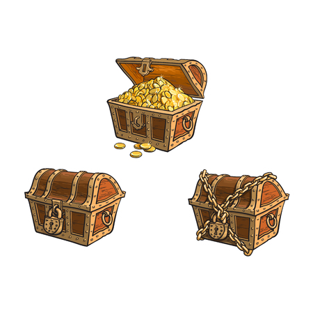 vector wooden treasure chest set. Isolated illustration on a white background. Opened, full of golden coins, closed and chained Flat cartoon symbol of adventure, pirates, risk profit and wealth. Illustration