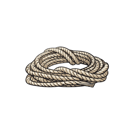 Roll of ship rope, side view cartoon vector illustration isolated on white background. Cartoon illustration of rolled up ship rope for anchoring, docking Ilustração