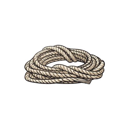 Rollo de la cuerda de la nave, vista lateral ilustración vectorial de dibujos animados aislado sobre fondo blanco. Ilustración de dibujos animados de la cuerda de la nave enrollada para anclar, atracar