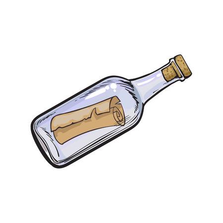 Mensaje, carta, desplazamiento en botella de vidrio transparente, dibujado a mano, boceto ilustración de vector de dibujos animados de estilo aislado sobre fondo blanco. Mano dibuja la ilustración de vector de dibujos animados de mensaje en botella