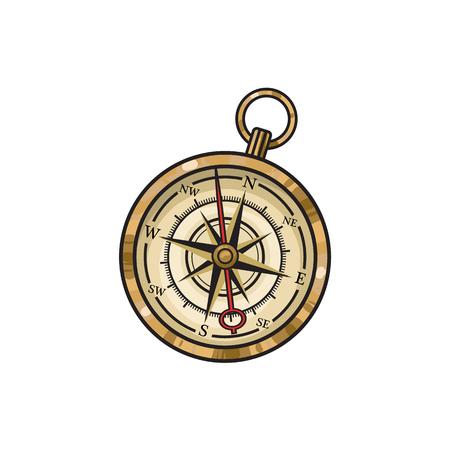 ヴィンテージの古い手描き下ろしコンパス、スケッチ スタイル漫画ベクトル イラスト白背景に分離されました。古い黄金の羅針盤の手描き漫画ベク