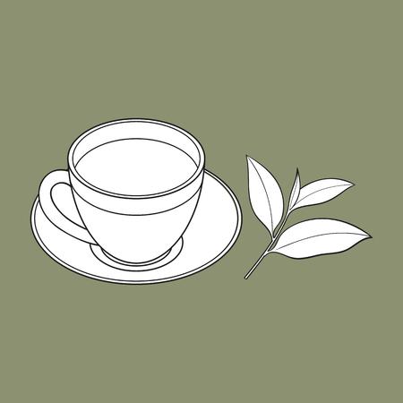 手描きの杭、ヒープ、乾燥茶と新鮮な若い葉の一握りは、白い背景で隔離のベクトル図をスケッチします。リアルな手描きの乾燥茶の新鮮な葉