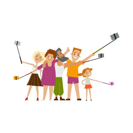 親と子は、彼女自身の携帯電話と一脚、白い背景で隔離のスタイル漫画ベクトル図をフラット selfie、彼のすべての家族を作る。多くの携帯電話で sel