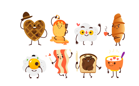 Set of breakfast characters - waffle, toast, croissant, pancake, fried egg, bacon and bowl of oats, cartoon vector illustration isolated on white background. Set of funny smiling breakfast characters