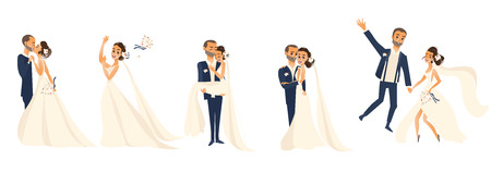 Wedding couple set, bride and groom, hugging, kissing, celebrating, cartoon vector illustration isolated on white background. Wedding couple, hugging and kissing, throwing flowers, being happy Illustration