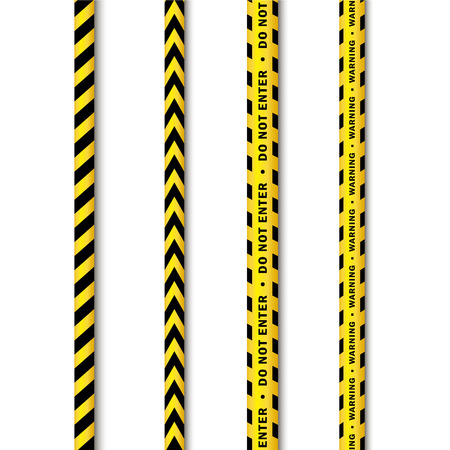 murder scene: vector yellow black police tape set. Flat cartoon isolated illustration on a white background. Yellow danger tape with black stripes enclosing for forencics, investigators. Illustration