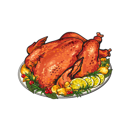 Whole roasted turkey served with lemon and herbs, festive Thanksgiving, Christmas food, sketch style vector illustration isolated on white background. Hand drawn grilled, roasted turkey, festive dish