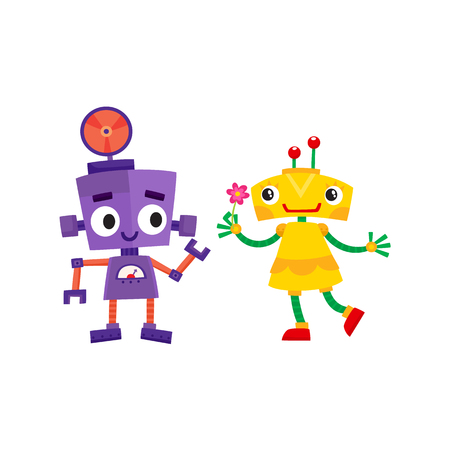 vector flat cartoon funny friendly robot. Humanoid girl holding flower, boy characters with legs arms, with locator on head smiling . Isolated illustration on a white background.