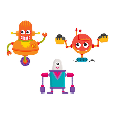 vector flat cartoon funny repairing robots set. Cute humanoid male characters with wrench, ladle - arms and wheel, crawler track - legs smiling. Isolated illustration on a white background. Illustration