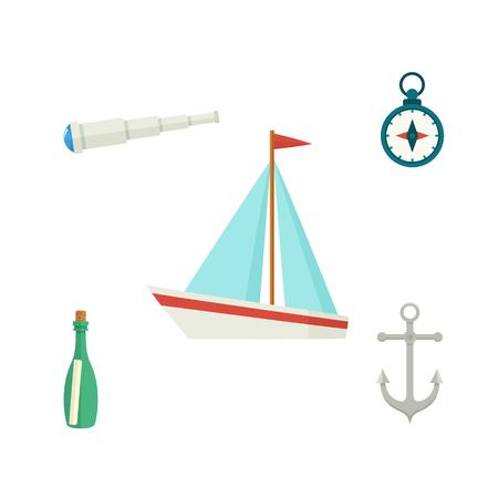 Nautical set - sailboat, anchor, compass, telescope, message bottle, flat cartoon vector illustration isolated on white background. Nautical elements - ship, anchor, compass, telescope, message bottle Ilustração