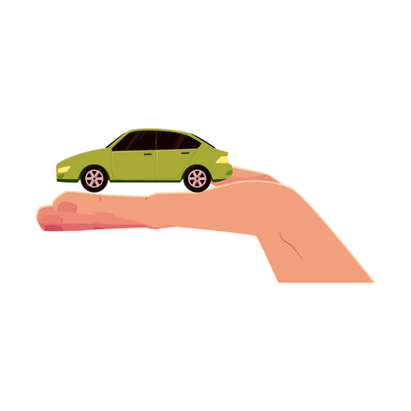 vector flat cartoon car model in opened palm of hand. Isolated illustration on a white background. Electric vehicle symbol, green transportation with no pollution, automobile rent.