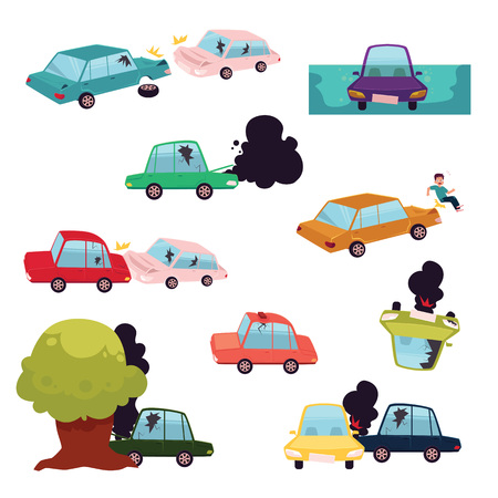 Car crash, road accident, motor vehicle collision set, flat cartoon vector illustration isolated on white background. Big cartoon set of colliding cars, road accident, knockdown, rollover, crash Ilustração