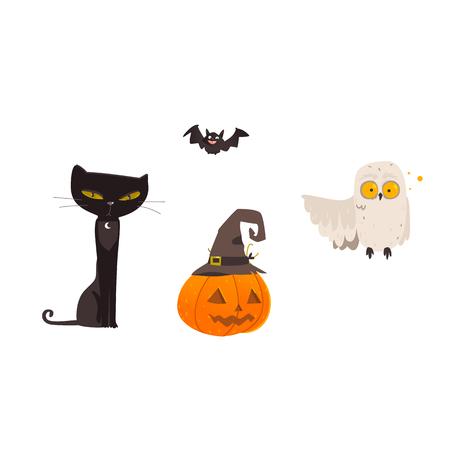 Halloween-voorwerpen - griezelige zwarte kat, gekke uil, vliegende knuppel, pompoenlantaarn in heksen pointy hoed, beeldverhaal vectordieillustratie op witte achtergrond wordt geïsoleerd. Cartoon kat, uil, Halloween pompoen en vleermuis