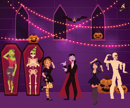 People having fun at Halloween party dressed as witch, zombie, vampire, dracula, mummy, cartoon vector illustration. Halloween party, garlands, pumpkins, people in costumes, coffins