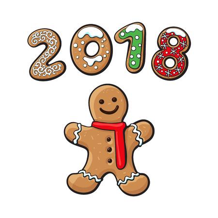 진저 브레드 남자 쿠키 벡터 격리 된 그림 흰색 배경에. 새 해 2018 만화 달콤한 케이크 남자의 배경에 구운 된 사탕 숫자. 전통적인 겨울 휴가 가정 치료