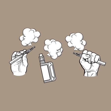 남성의 손에 들고 전자 담배, 전자 담배, 증기 연기 나오는, 흑백 스케치 벡터 일러스트 레이 션 컬러 배경에 고립.
