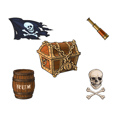vector cartoon pirates symbols set isolated iilustration on a white background. Skull and cross bones jolly roger flag, closed chained treasure chest , spyglass sail telescope