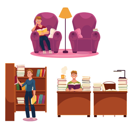 Library set - man reading in armchair and at table, putting books on bookshelf, cartoon vector illustration isolated on white background. Young man, student in library set - reading, studying 向量圖像