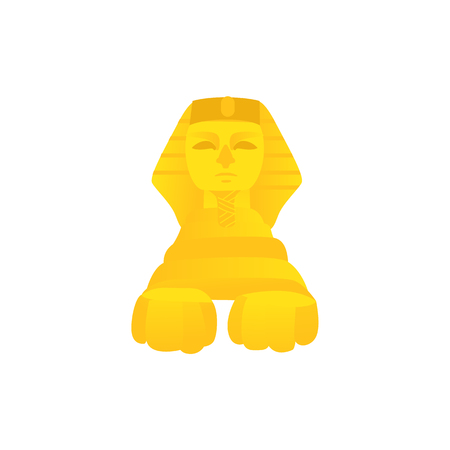 Stylized statue of sphinx, symbol of Egypt culture, front view flat cartoon vector illustration isolated on white background. Flat style Egypt statue of sphinx, traditional place of attraction Ilustrace