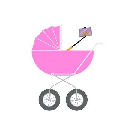 Nouveau-né faisant selfie avec téléphone et monopode dès la sortie du landau, transport, illustration de vecteur de dessin animé isolé sur fond blanc. Bébé faisant selfie dans le landau, concept de style de vie moderne Banque d'images - 85387004