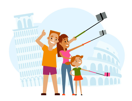 Father, mother and kid making selfie in Italy with Tower of Pisa and Coliseum of Rome on background, flat style cartoon vector illustration. Family making selfie with many phones on vacation in Italy Иллюстрация