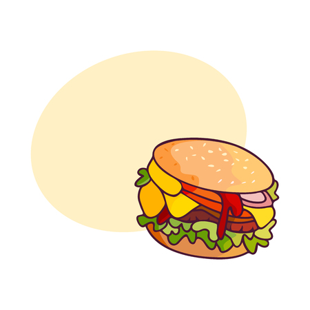벡터 햄버거 평면 흰색 배경에 고립 된 그림. 맛있는 신선한 쇠고기 햄버거, 연설 거품이있는 야채와 치즈 버거